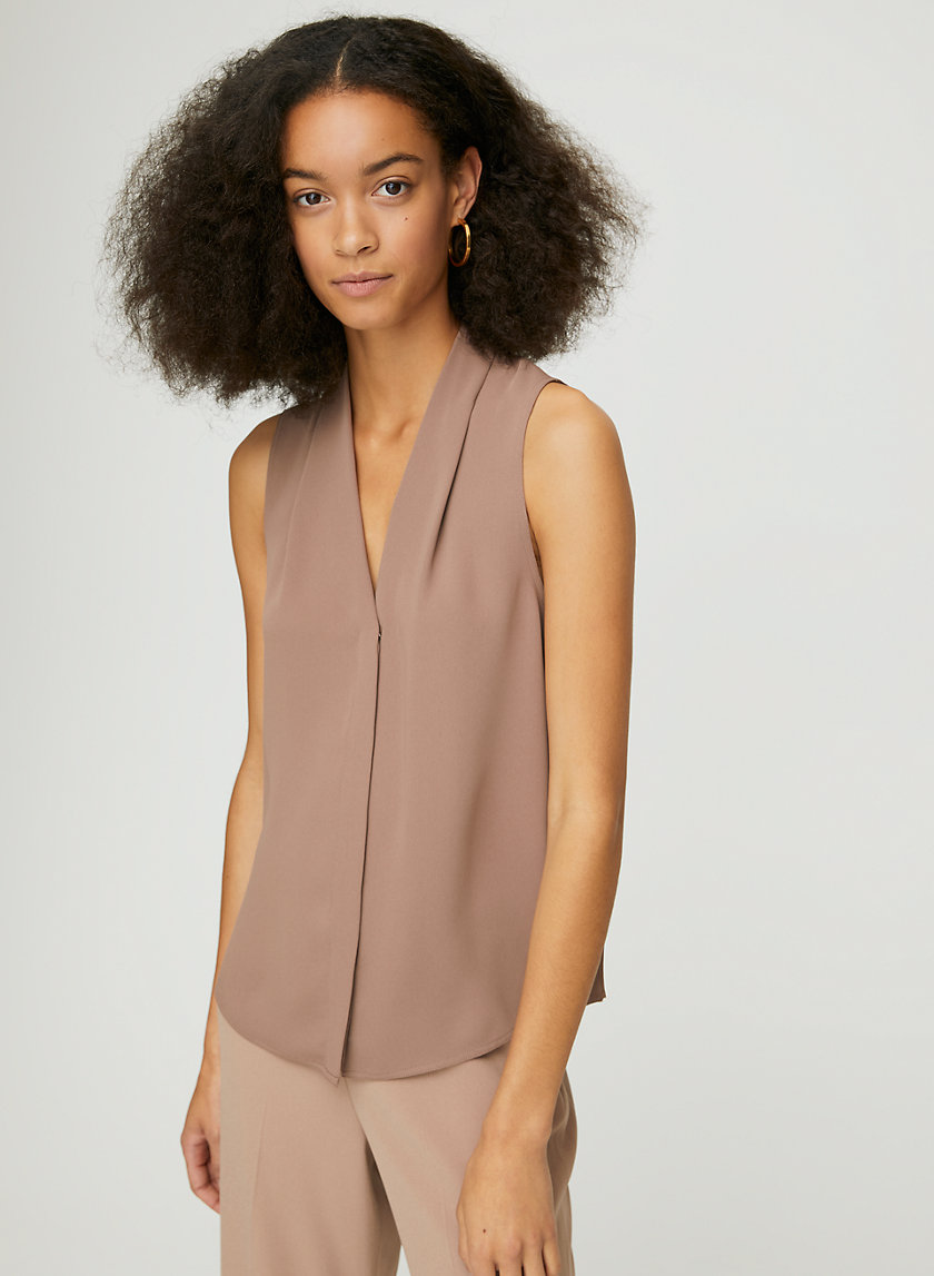 SLEEVELESS POWER BLOUSE - Sleeveless, matte-satin blouse