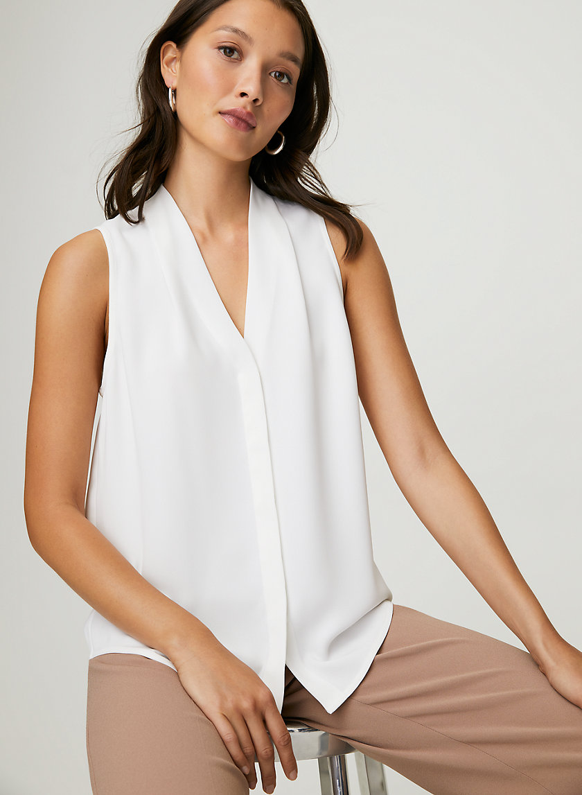 SLEEVELESS POWER BLOUSE - Sleeveless, matte-satin blouse