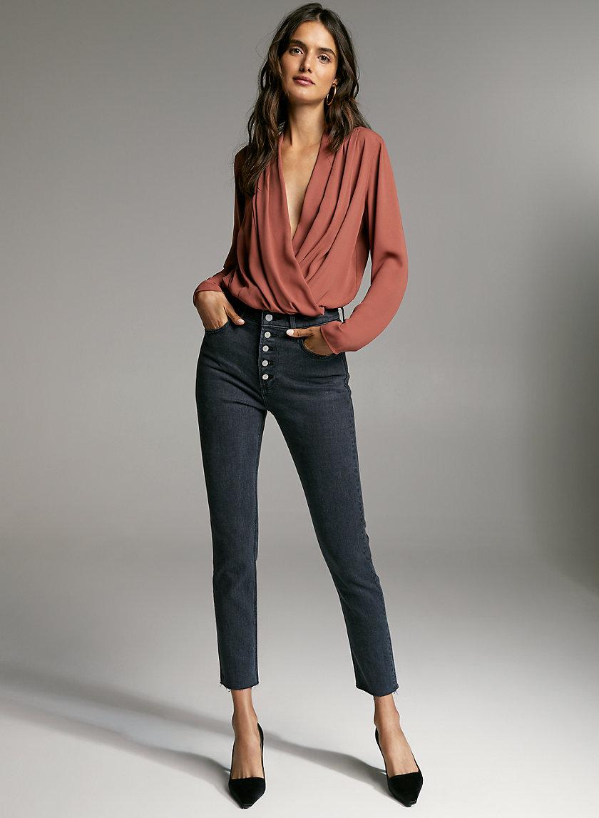 AMBROSE BODYSUIT - Faux-wrap blouse bodysuit