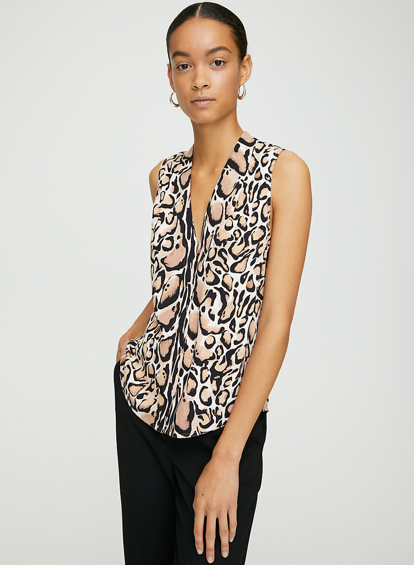 SLEEVELESS POWER BLOUSE - Leopard-print sleeveless blouse