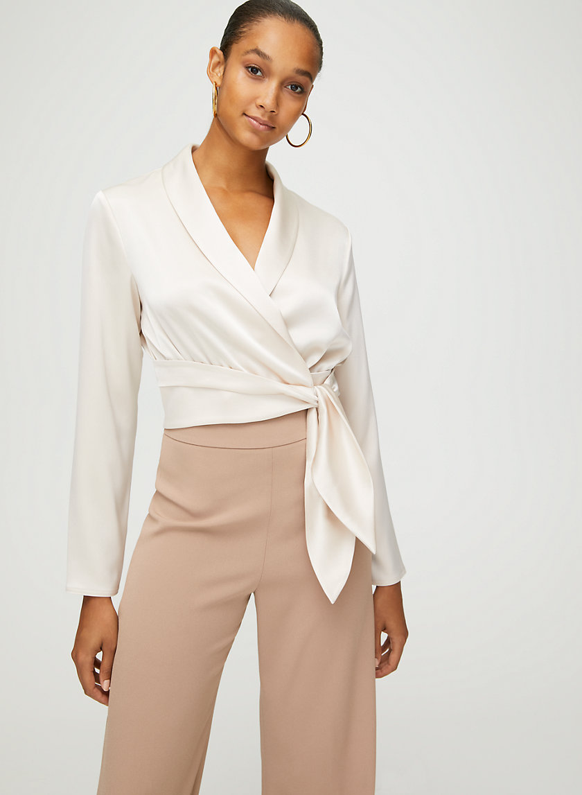 DAVIS BLOUSE - Long-sleeve wrap blouse
