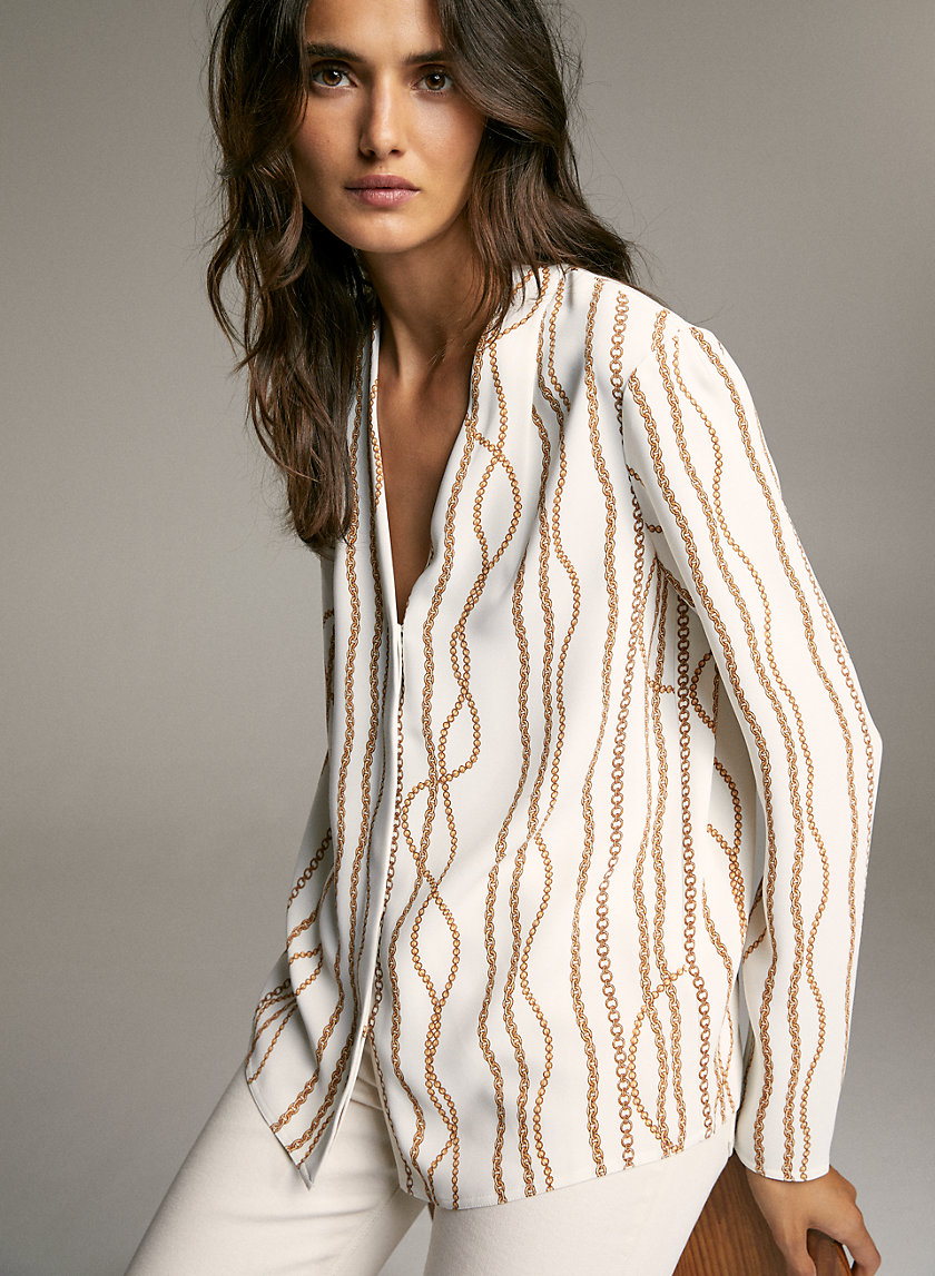 POWER BLOUSE - Satin long-sleeve blouse