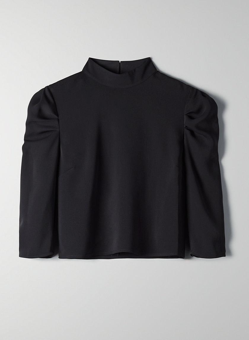 KUMA BLOUSE - Mock-neck, puff-sleeve blouse