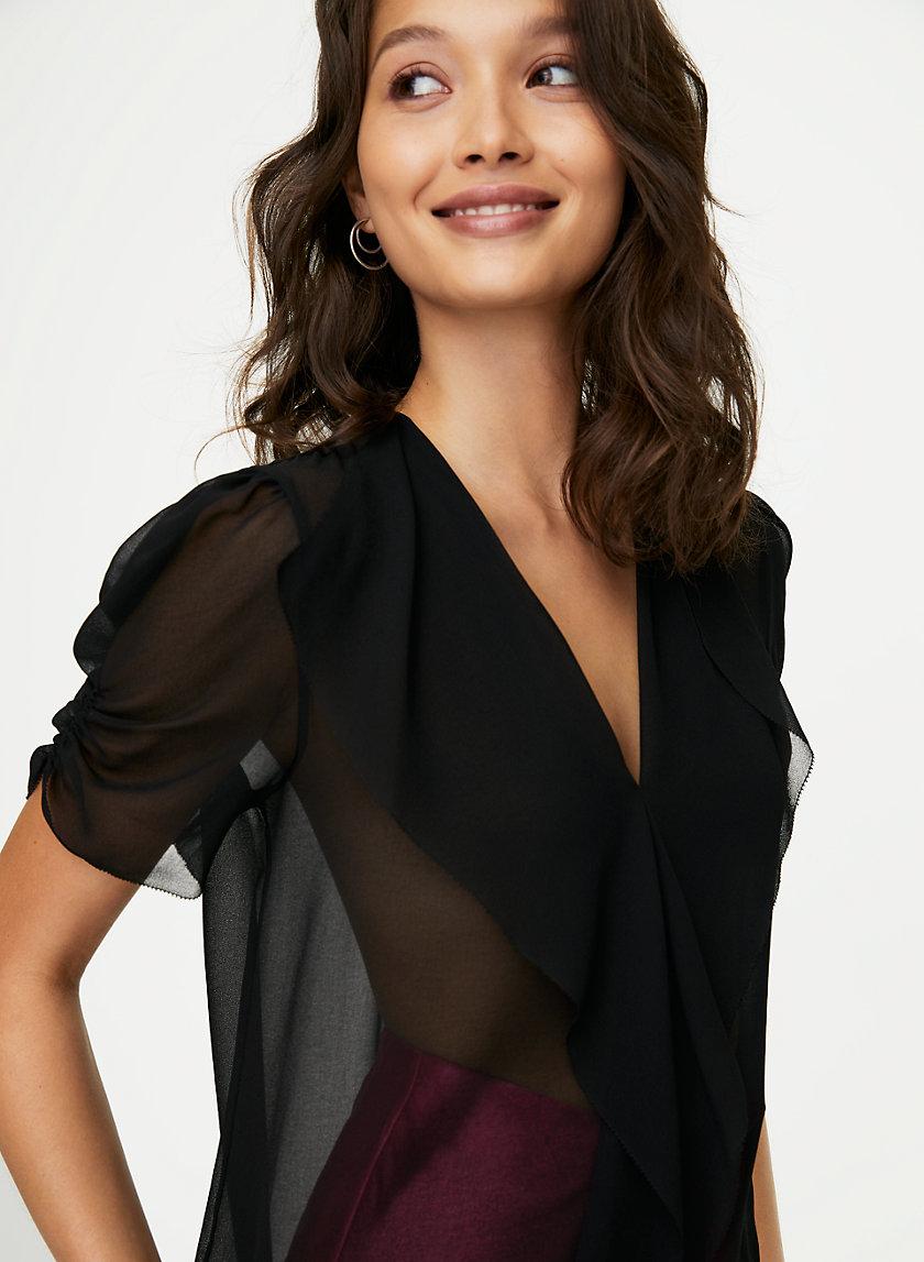 JAX BLOUSE - Sheer V-neck blouse
