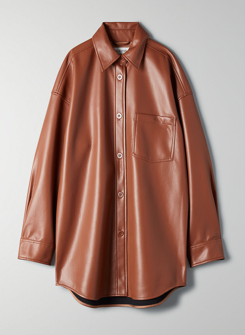 PELLI BLOUSE - Faux-leather, button-up shirt
