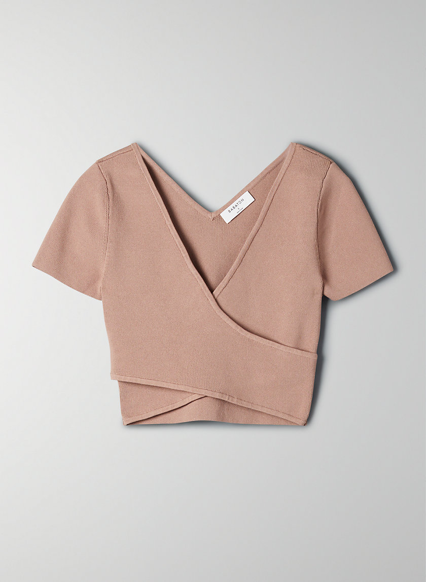 SCULPT KNIT CROSS-FRONT TOP