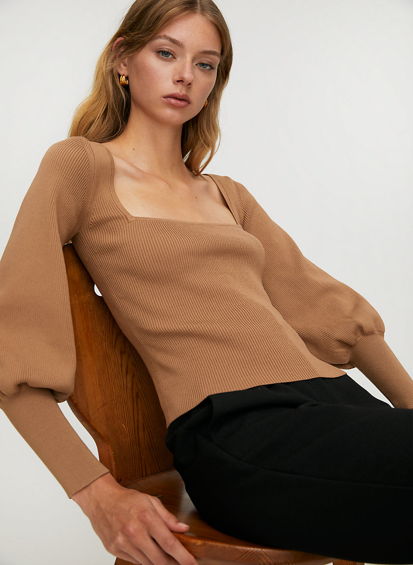 GIDEON SCULPT KNIT SWEATER - Square-neck long-sleeve sweater