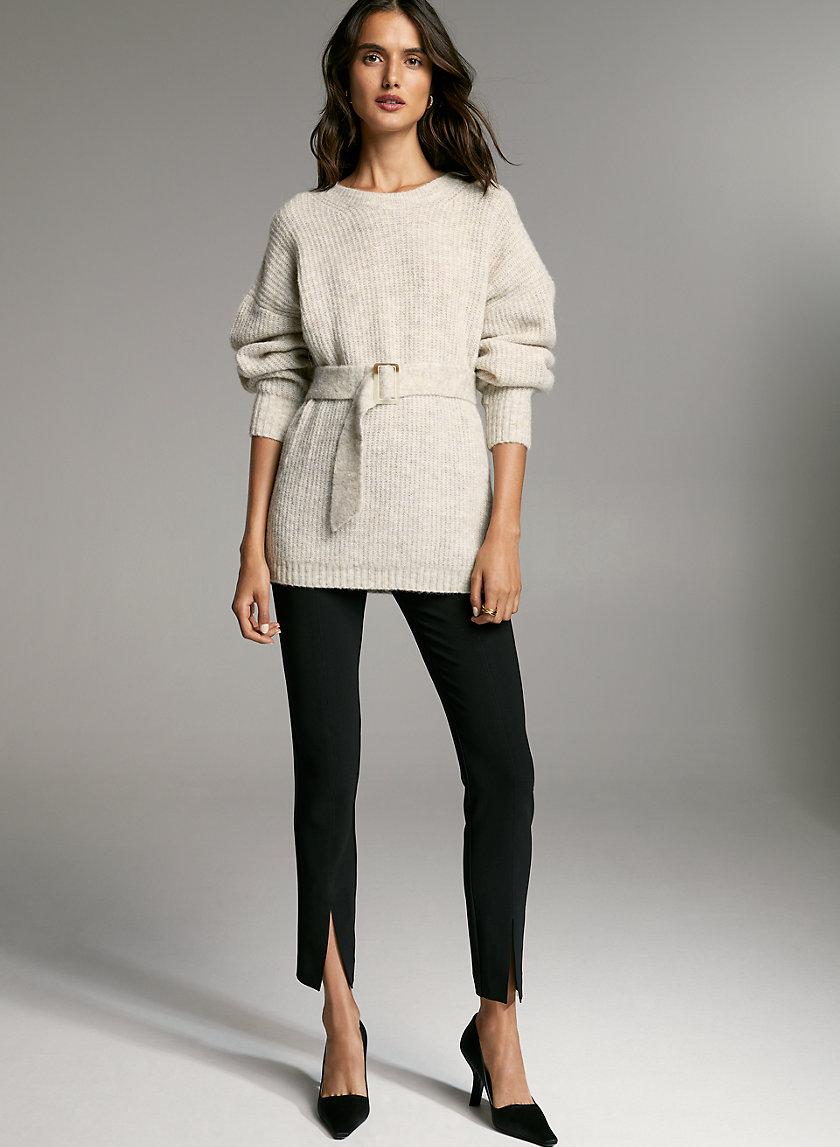 GAUDI SWEATER - Belted boatneck alpaca sweater