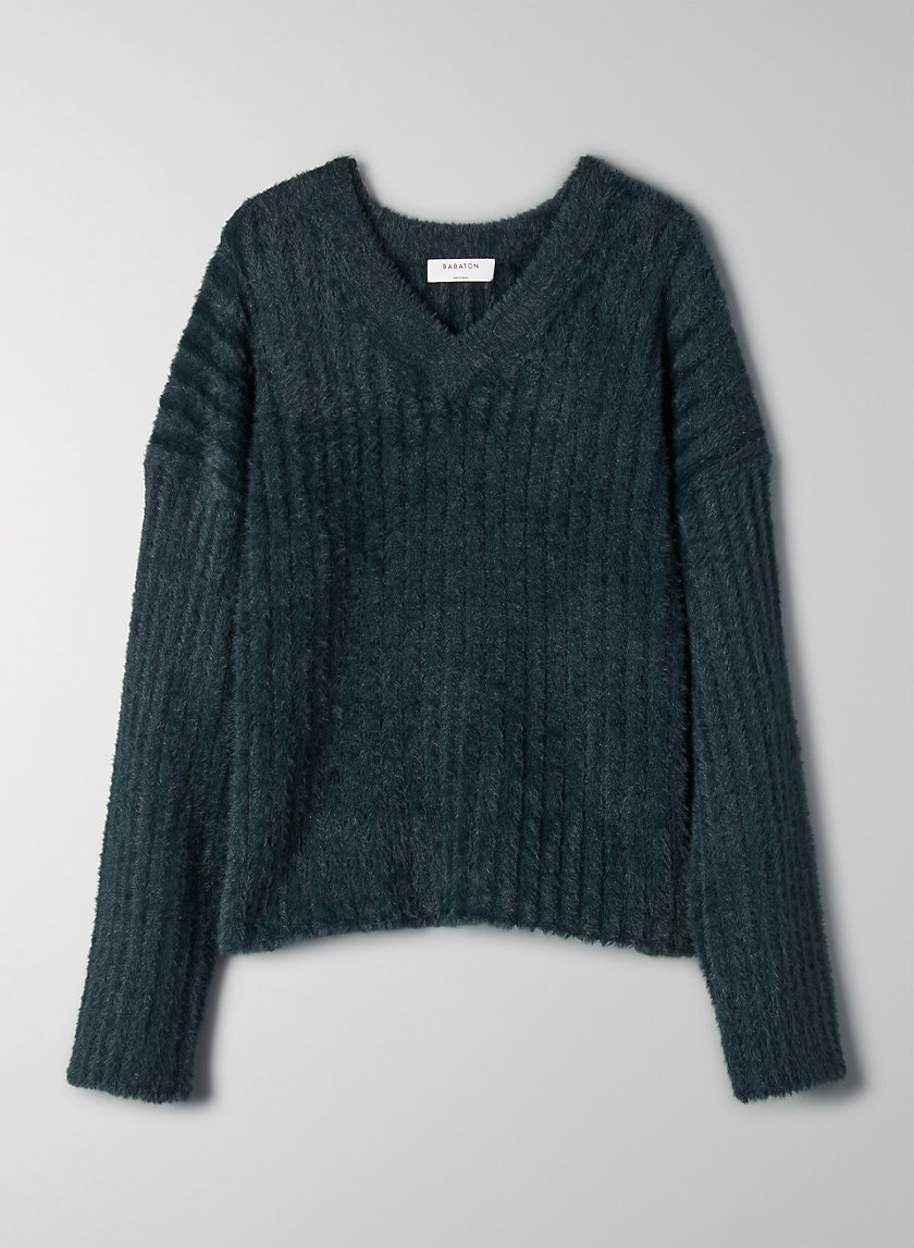 ULMANN SWEATER - Fuzzy V-neck sweater