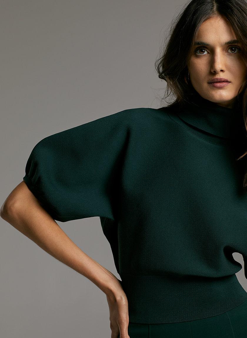 LIANA SWEATER - Cropped, short-sleeved turtleneck sweater