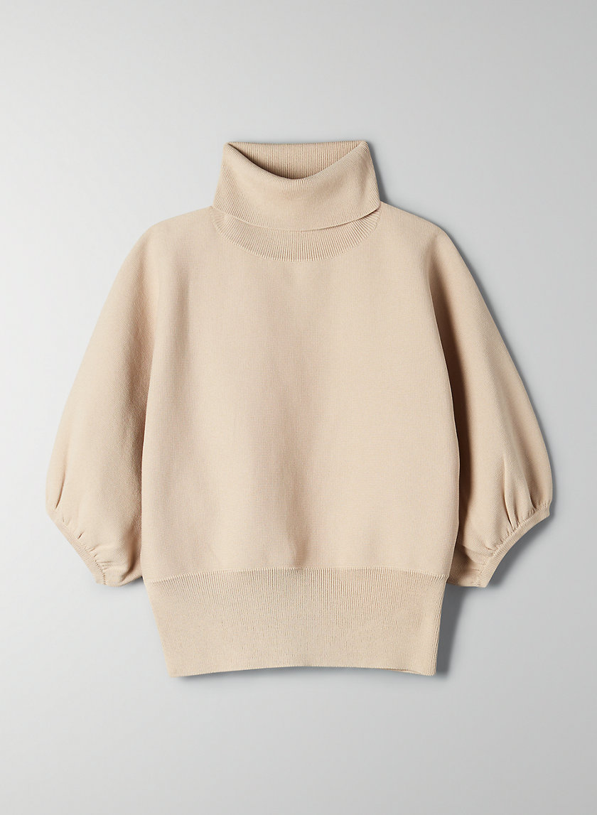 LIANA SWEATER - Cropped, short-sleeved turtleneck sweater