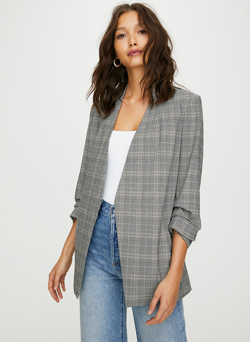 POWER CHECK BLAZER - 3/4 sleeve plaid blazer