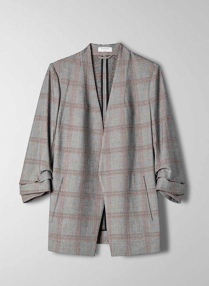 POWER CHECK BLAZER - 3/4 sleeve plaid blazer