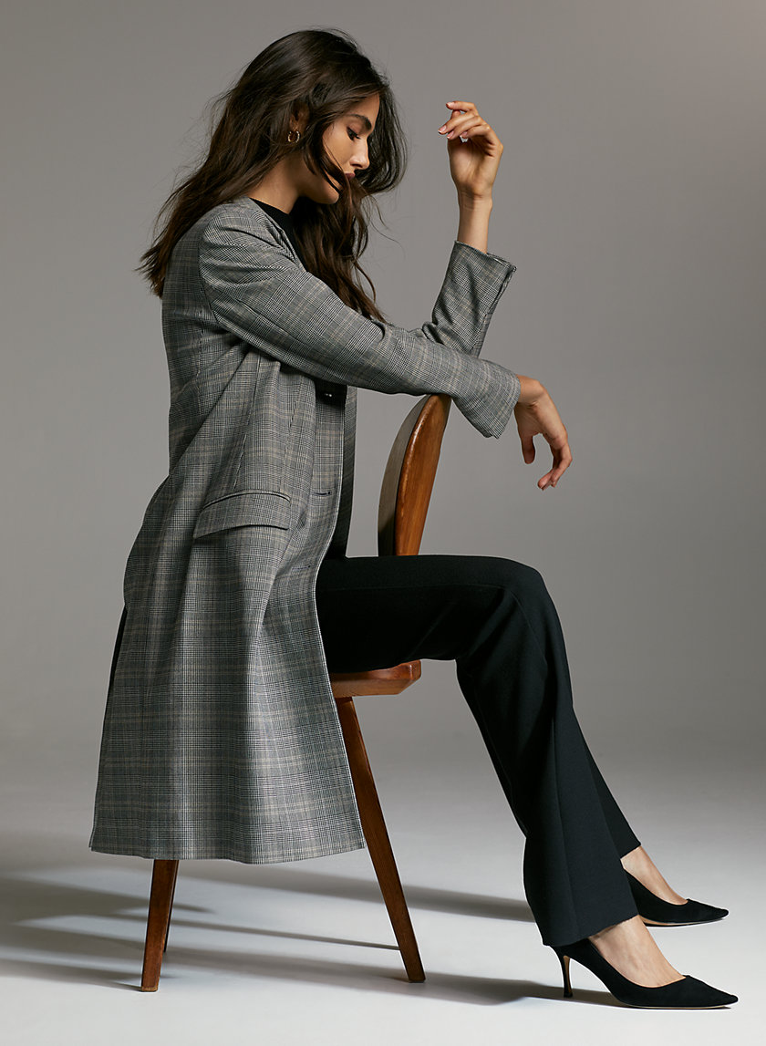 TRENT JACKET - Long plaid blazer jacket