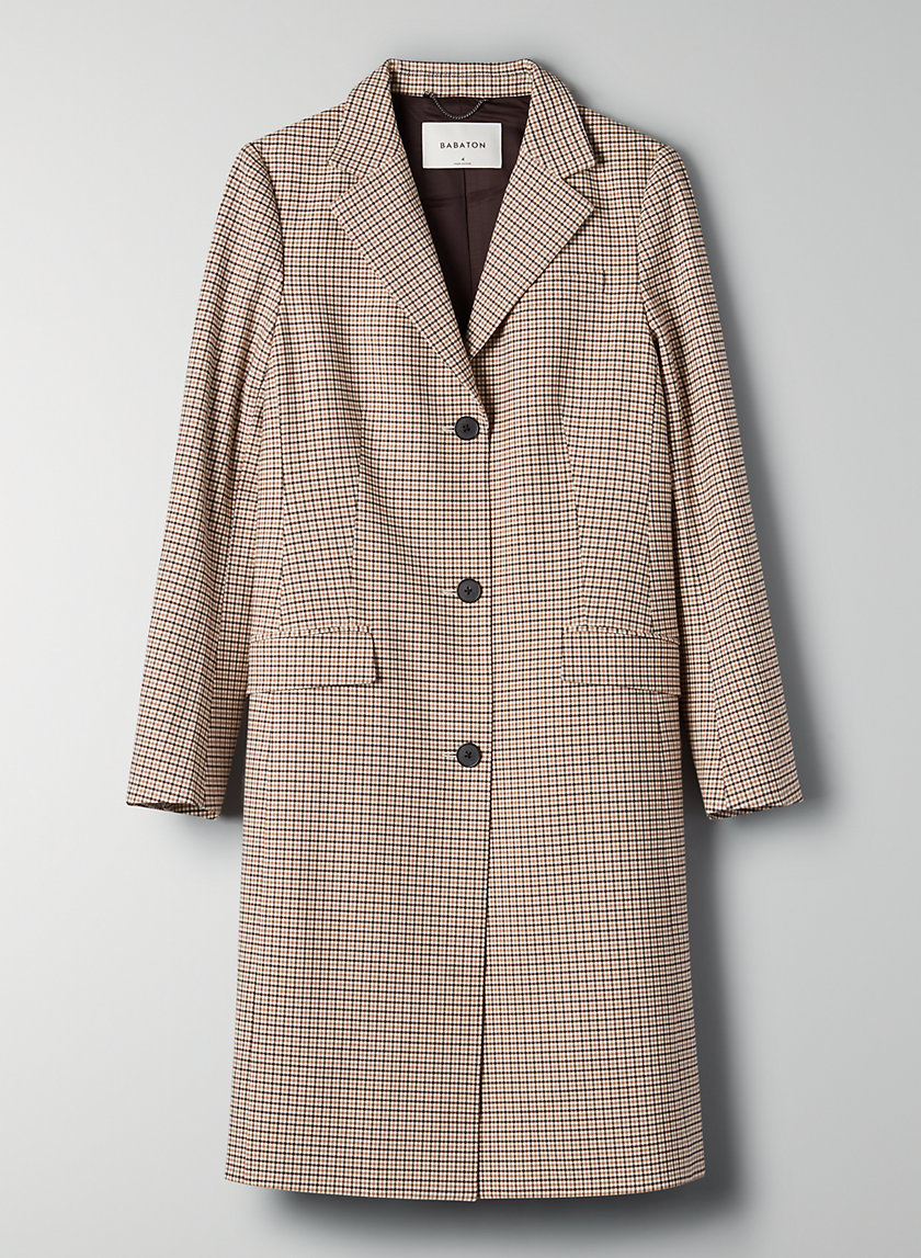 TRENT JACKET - Long plaid blazer jacket