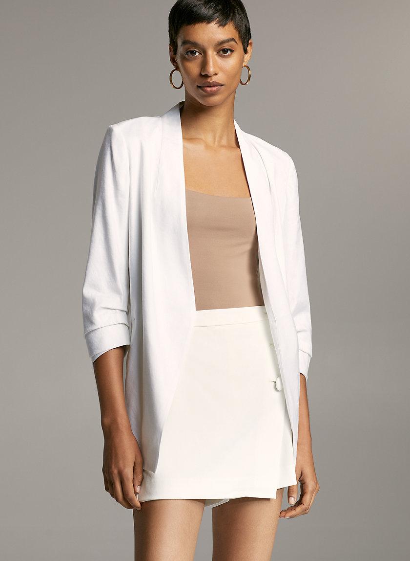 POWER LINEN BLAZER - 3/4 sleeve, linen-blend blazer