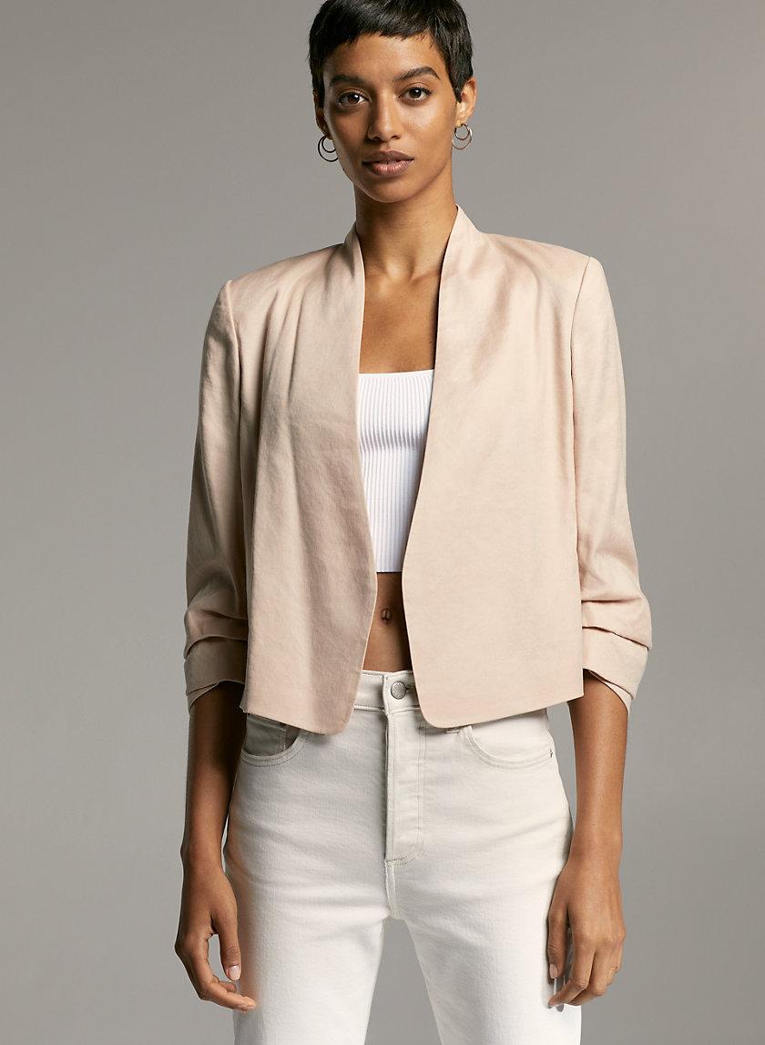 MACAULEY SHORT LINEN BLAZER - Cropped, linen-blend blazer