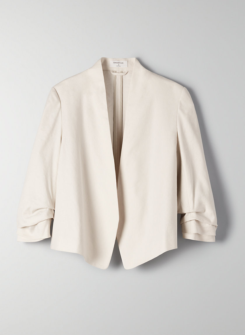 POWER SHORT LINEN BLAZER - Cropped, linen-blend blazer