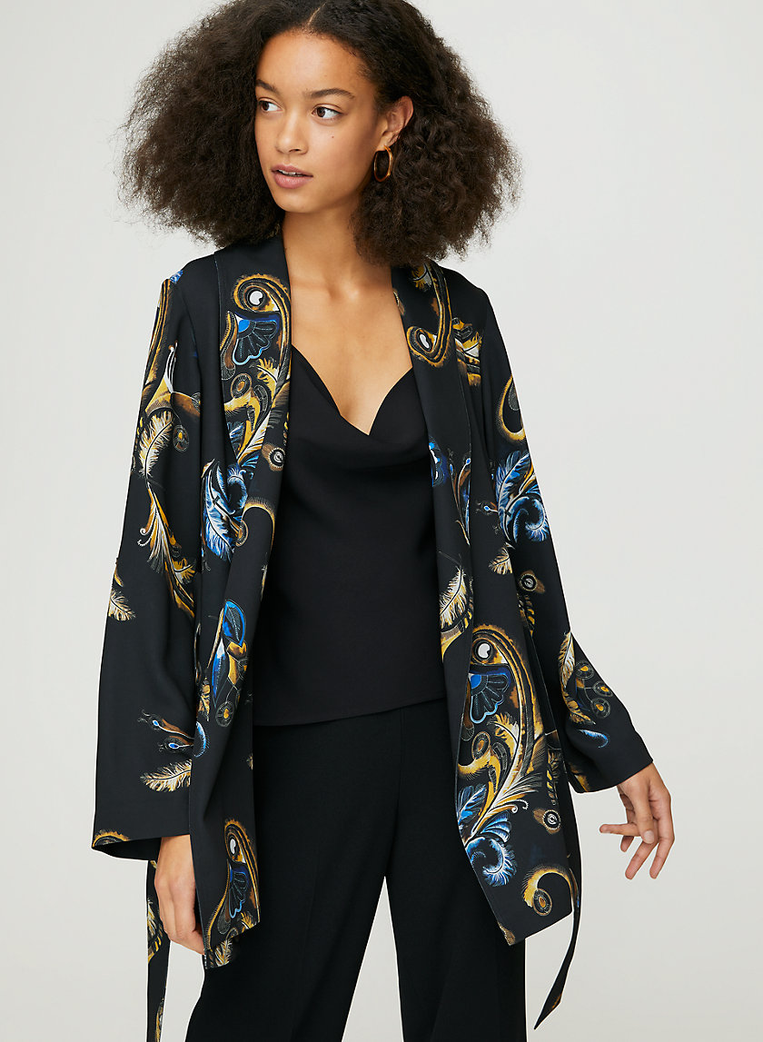 KAHLO MID ROBE - Feather-print robe jacket