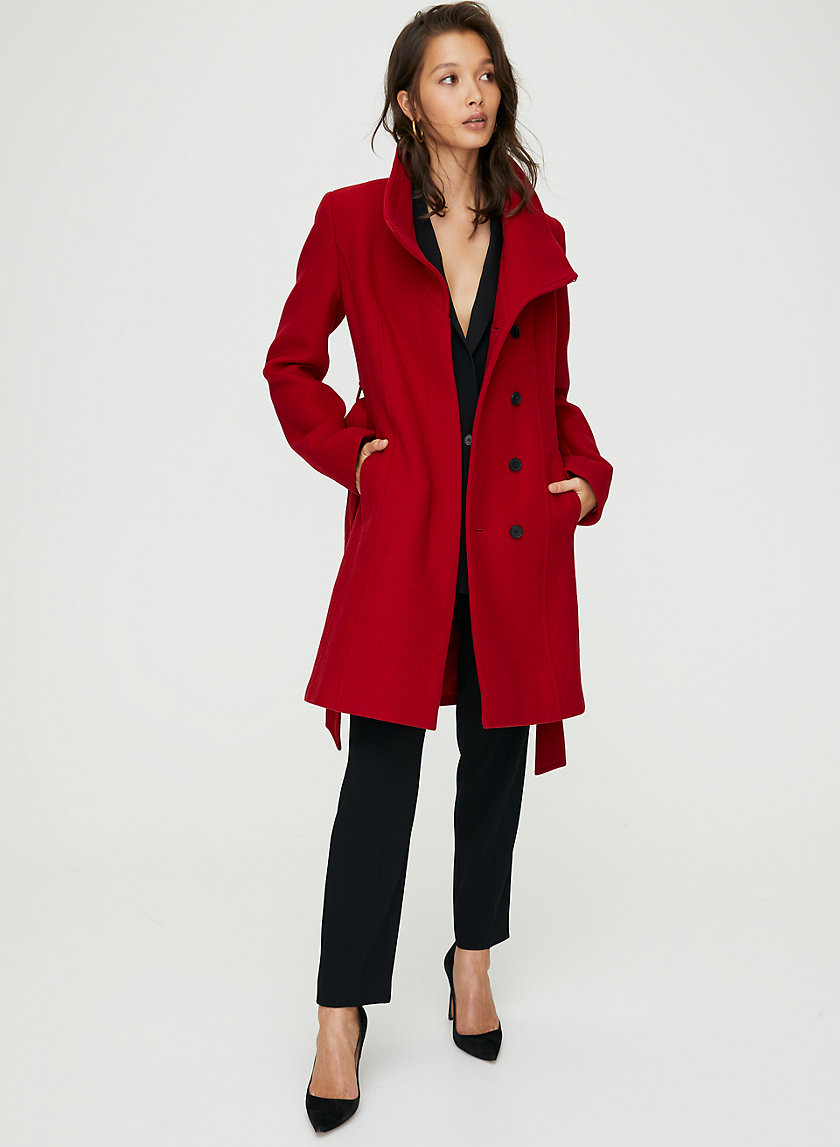 CONNOR WOOL COAT - Mid-length, belted, virgin-wool coat