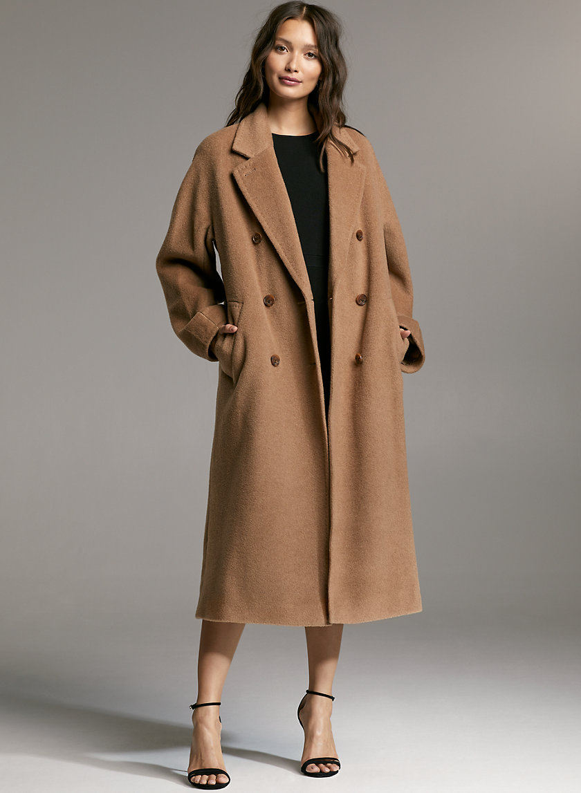 SLOUCH CAMEL WOOL COAT - Double-breasted camel coat