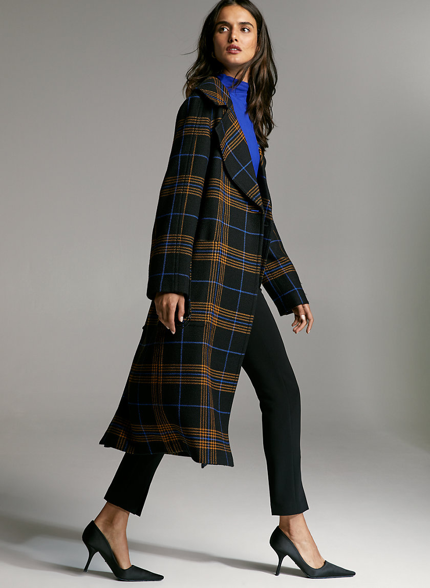 BARTON WOOL COAT - Plaid wrap wool coat