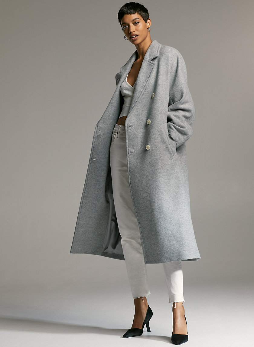 SLOUCH WOOL COAT - Relaxed double-breasted wool coat