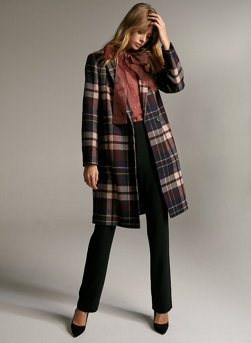 STEDMAN COAT - Plaid wool-blend coat