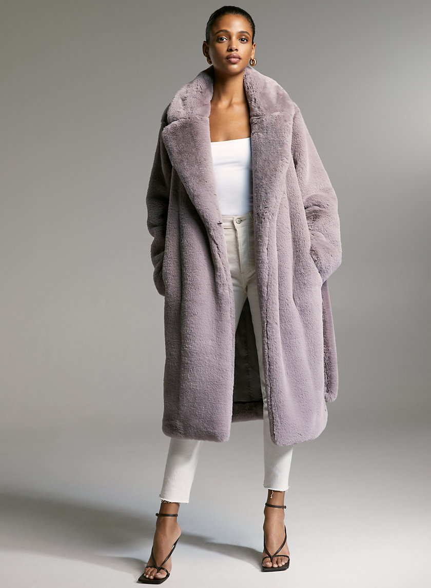 WATT FAUX FUR COAT - Faux fur wrap coat