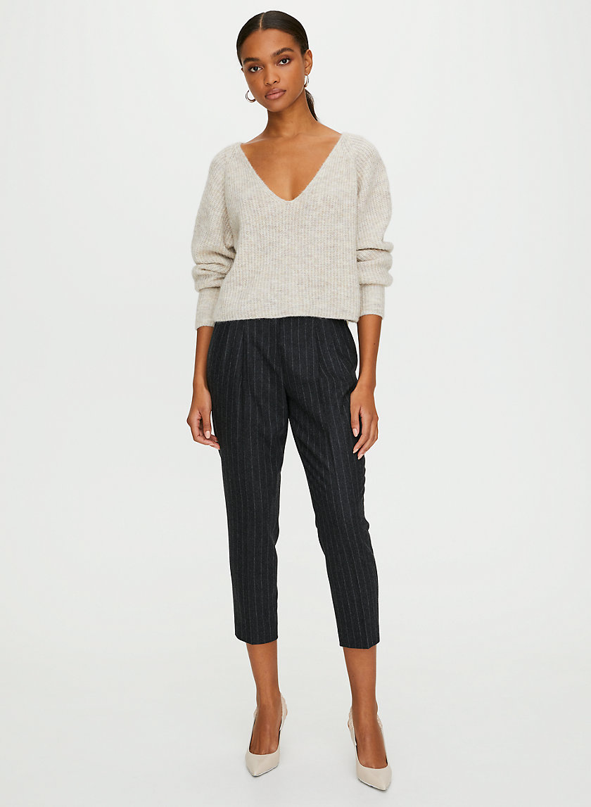 COHEN WOOL CASHMERE PANT - Cropped, wool-blend, pleated dress pant