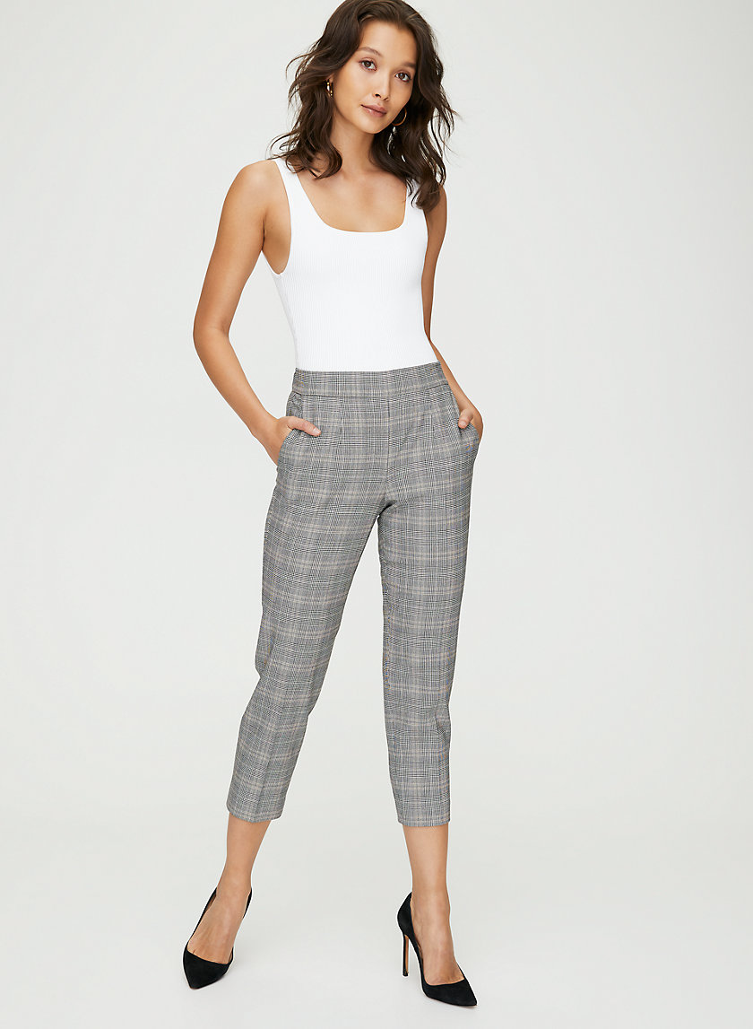 CONAN CHECK PANT - Plaid cropped dress pant
