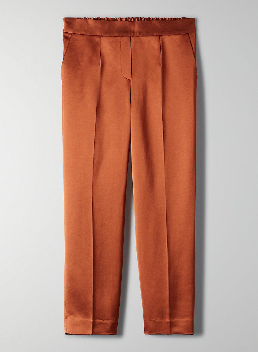 CONAN SATIN PANT - Cropped, shiny satin trousers