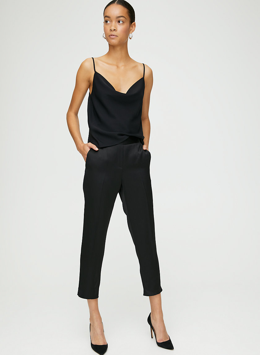 CONAN SATIN PANT - Cropped, shiny satin trousers