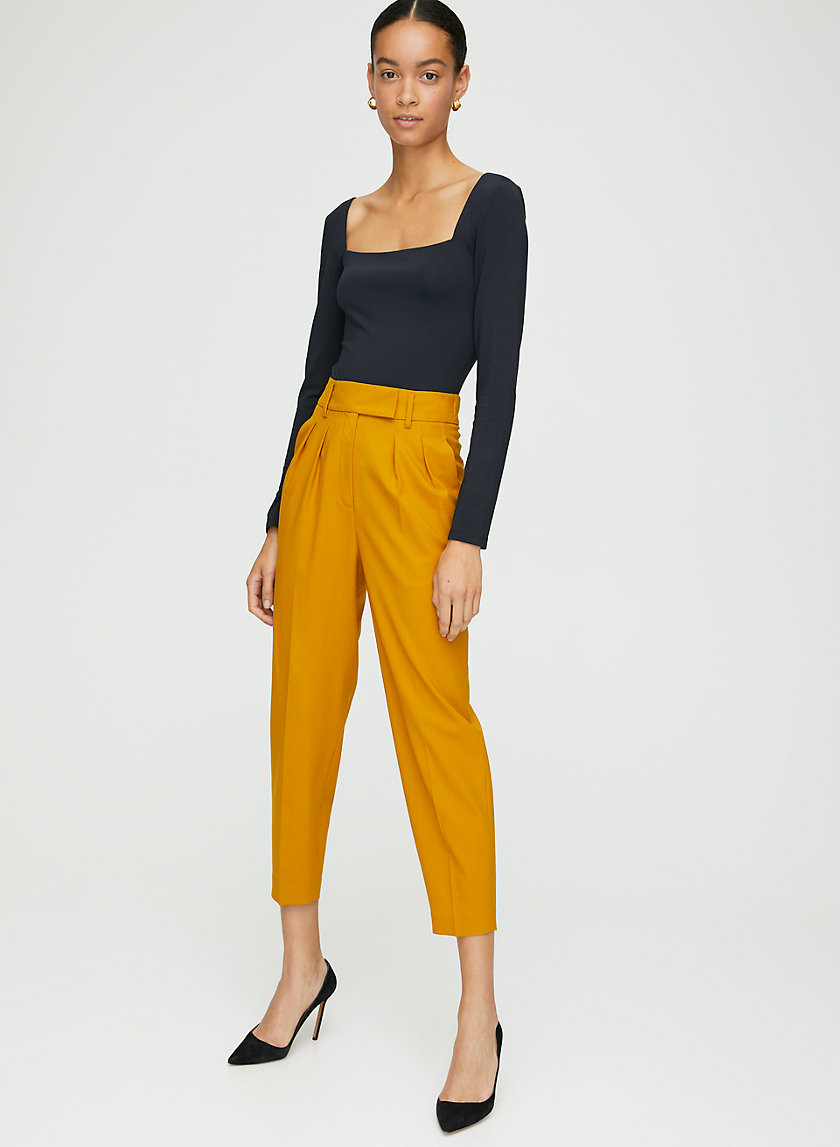 CHANNING PANT - Slim-fit, high-rise pleated pants