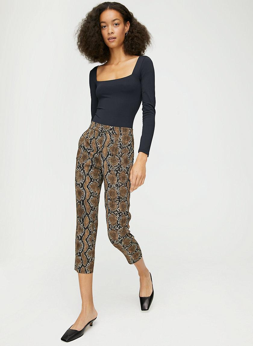 CONAN PANT - Cropped, snake-print, dress trousers
