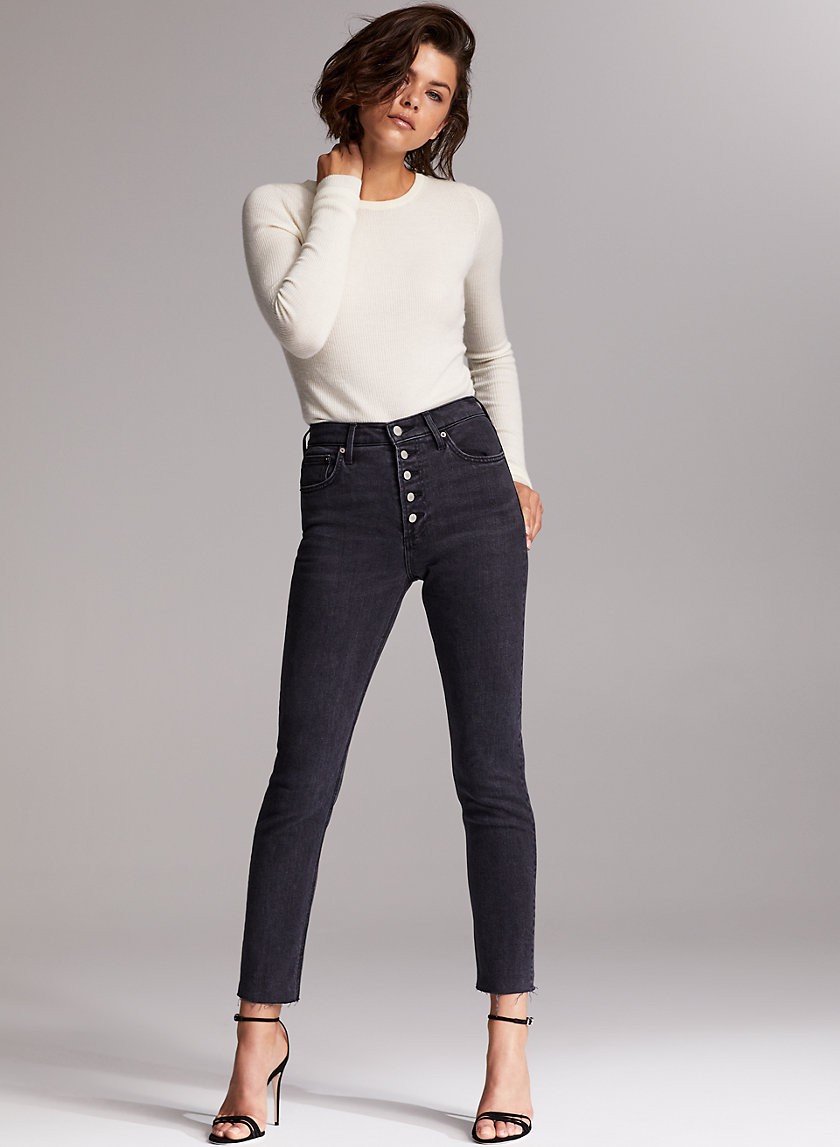 THE YOKO EXPOSED BUTTON - High-waisted skinny jeans