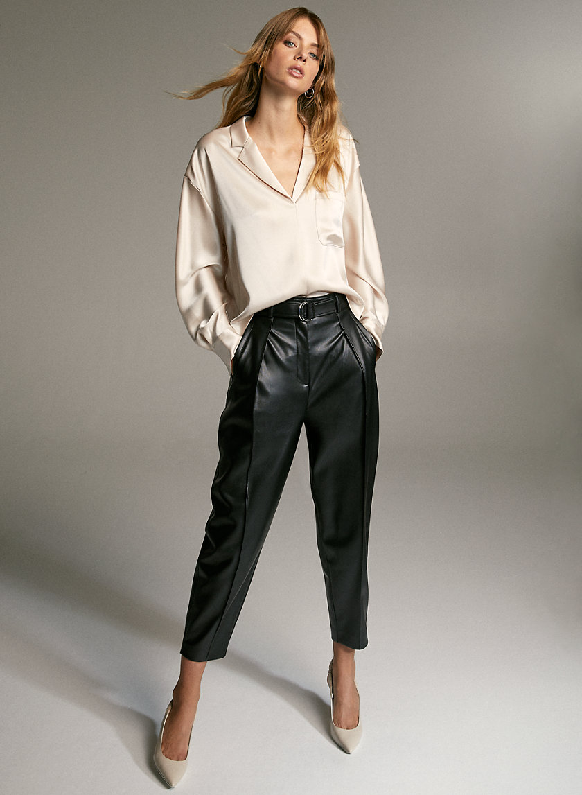 MAYNE PANT - Belted faux-leather trousers