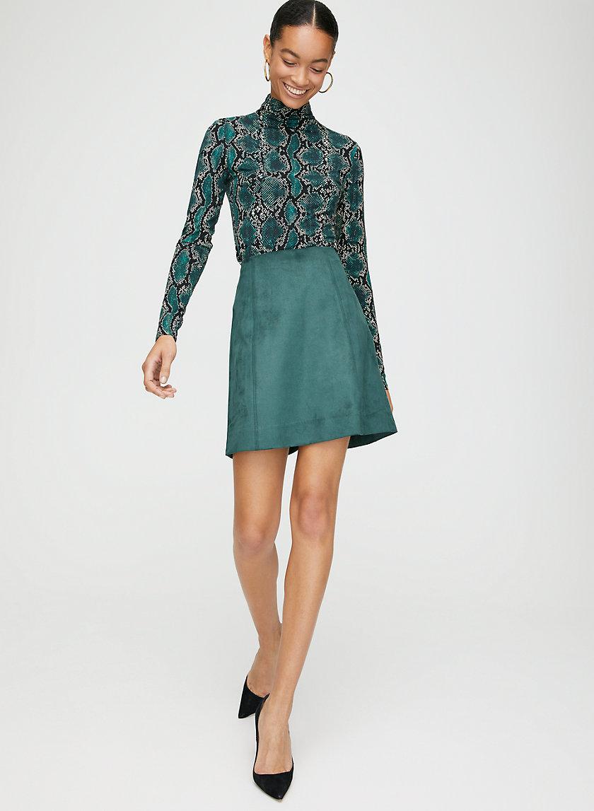 MODERN MINI SKIRT - Faux suede, A-line mini skirt