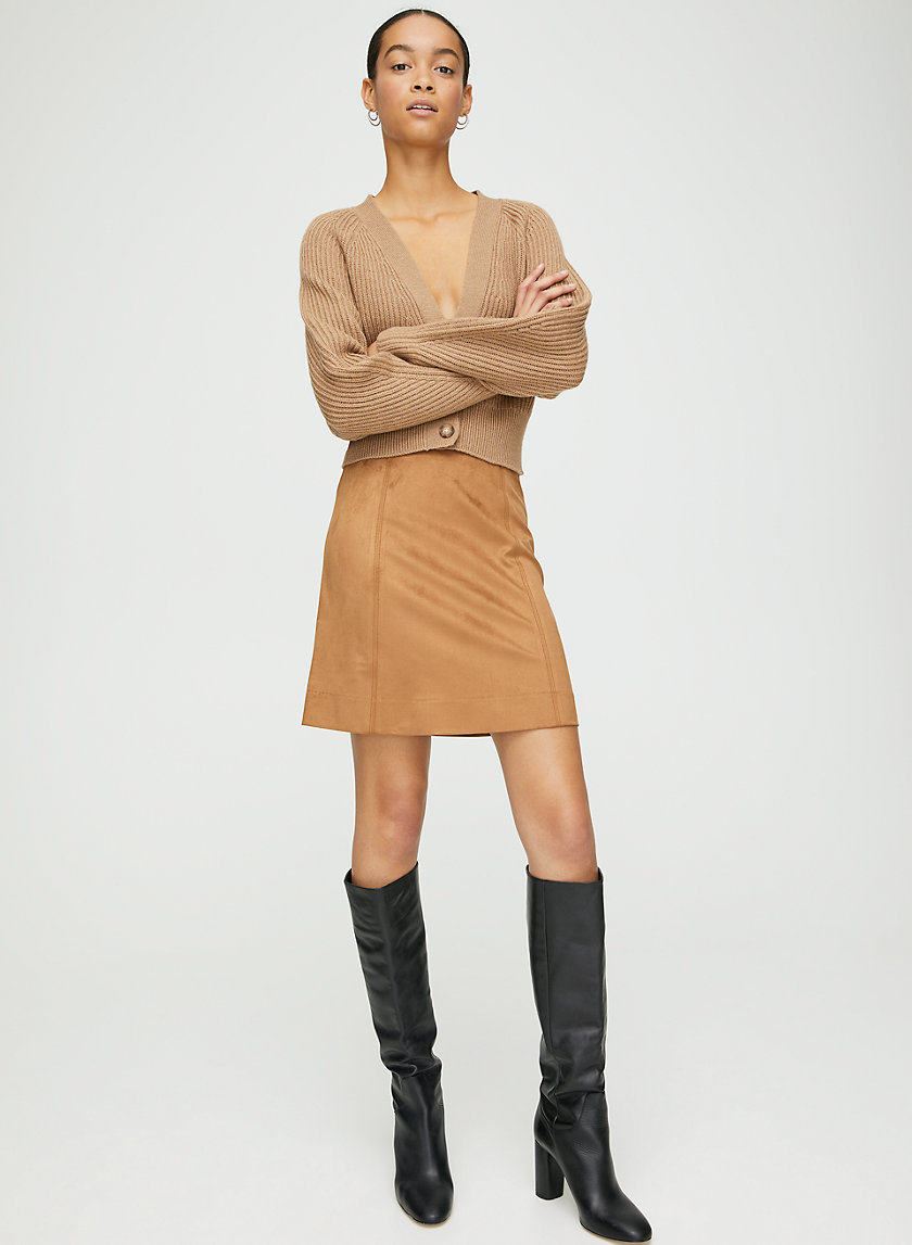 MODERN MINI SKIRT - Faux suede, A-line mini skirt