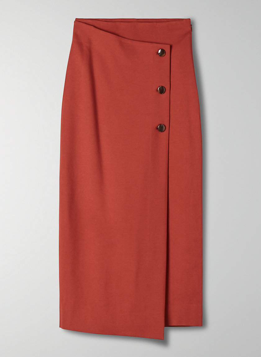 BUTTONED-UP SKIRT - Buttoned, wrap midi skirt