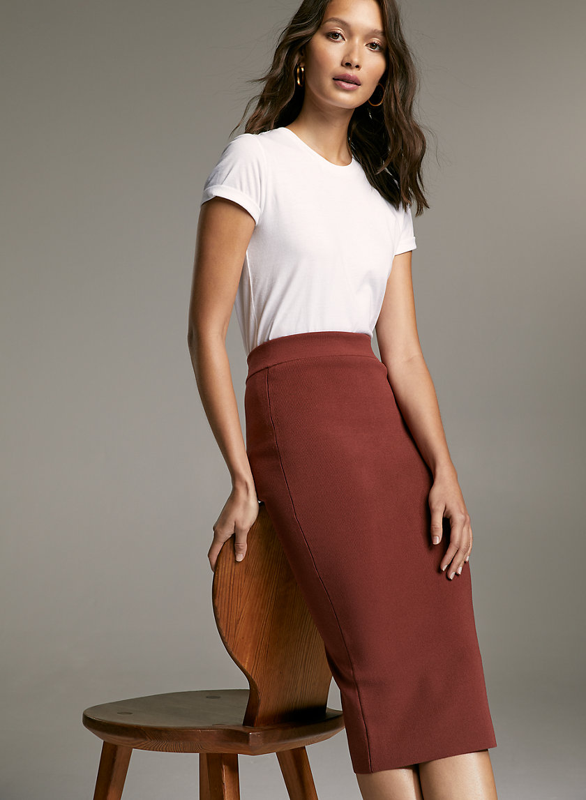 SCULPT KNIT TUBE SKIRT - Ribbed pencil skirt