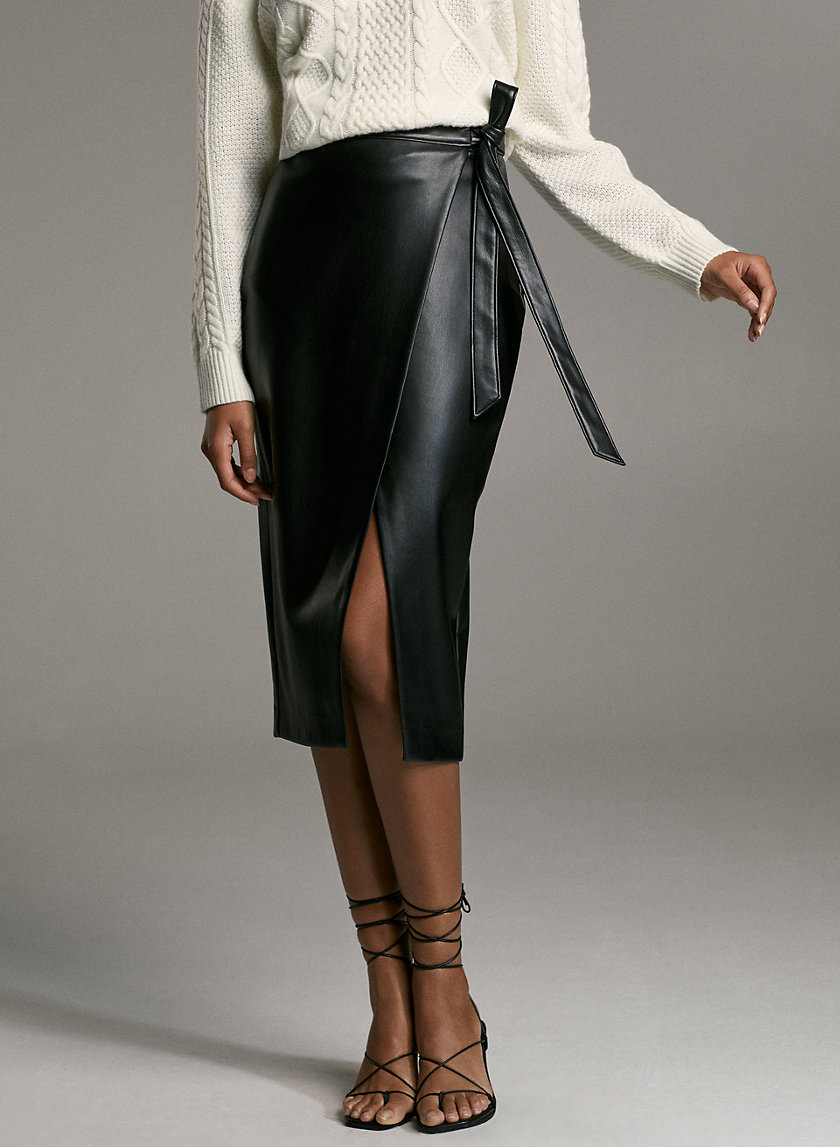 PELLI SKIRT - Vegan leather wrap skirt
