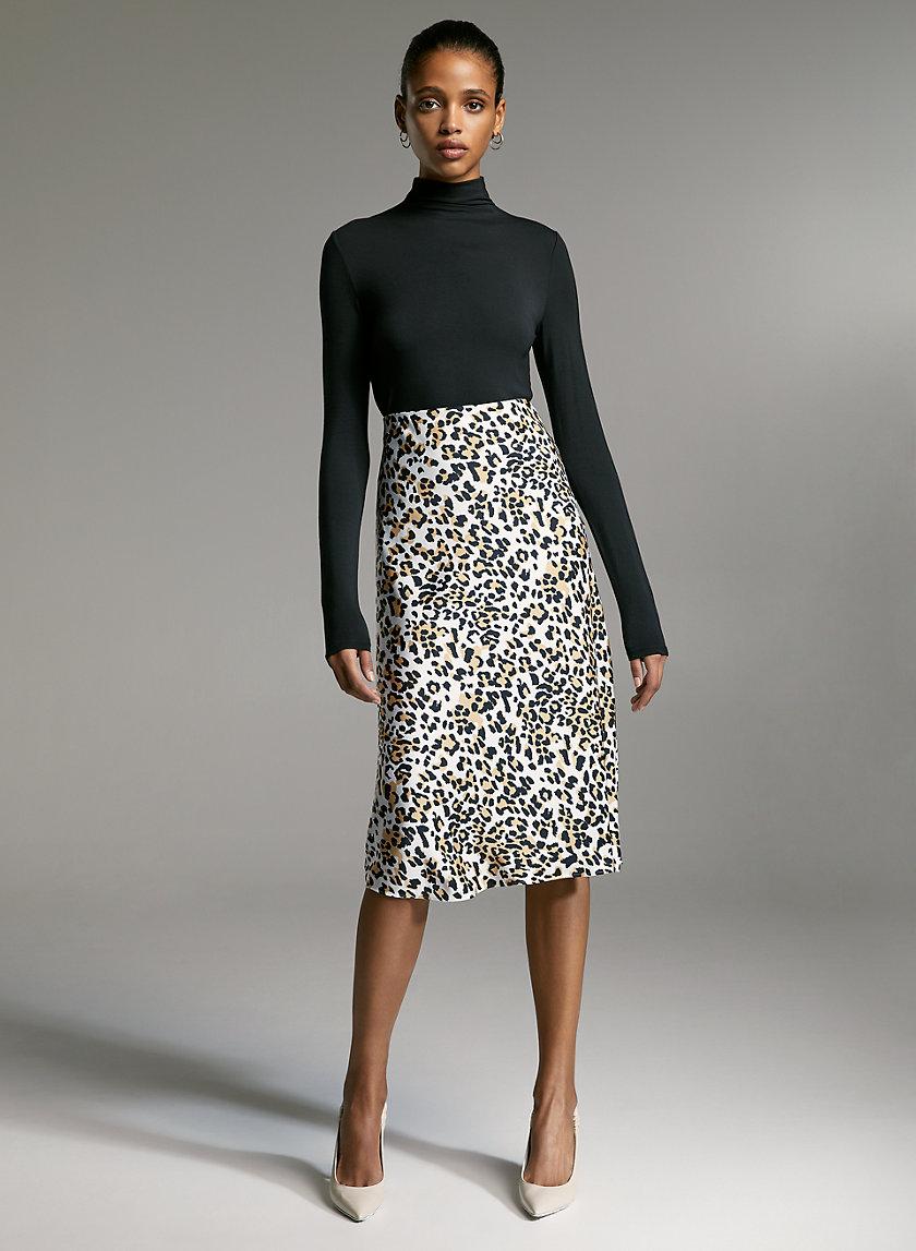 SLIP SKIRT - Leopard midi skirt