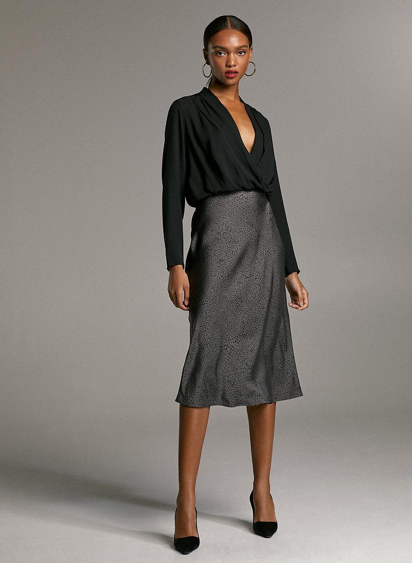 SLIP SKIRT - Silky midi-skirt