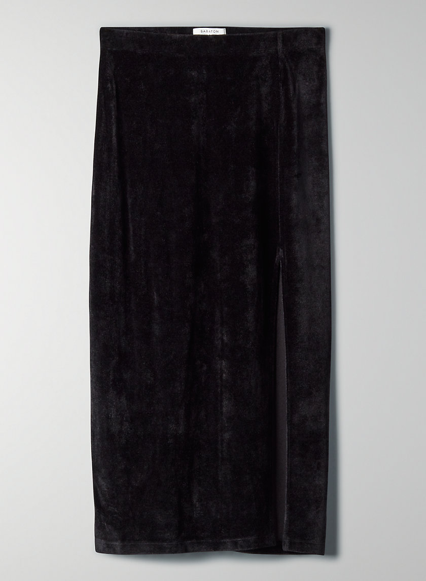 KATES VELVET SKIRT - Long velvet bodycon skirt