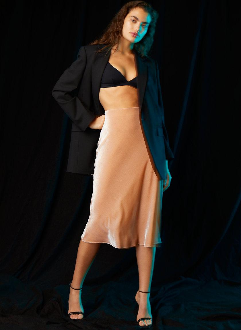 VELVET SLIP SKIRT - Velvet midi skirt