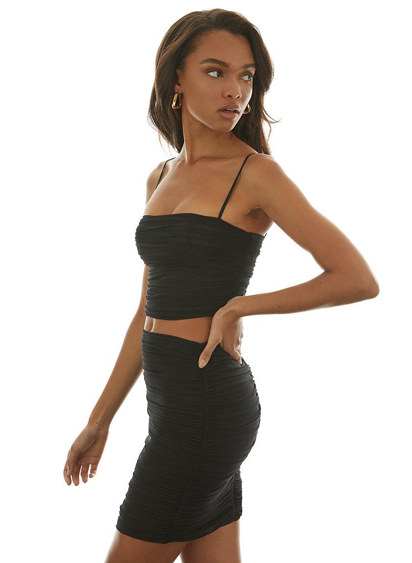 LUXOR SKIRT - Ruched mesh mini skirt