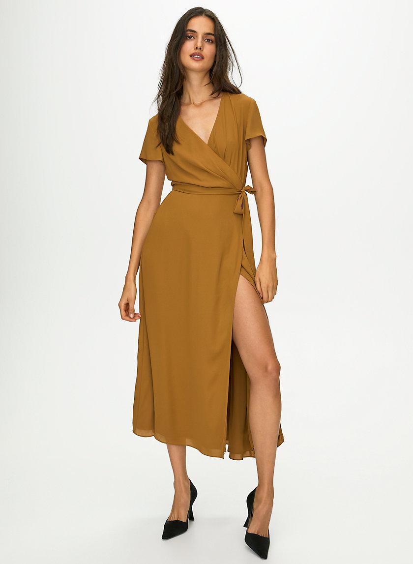 SLIT WRAP DRESS - Long, short-sleeve wrap dress