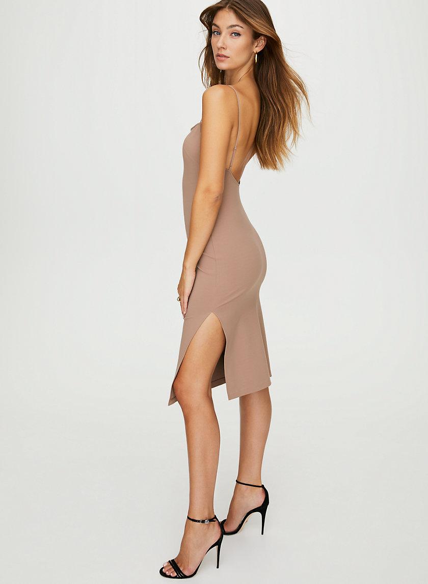 JULIUS DRESS - Side slit slip dress