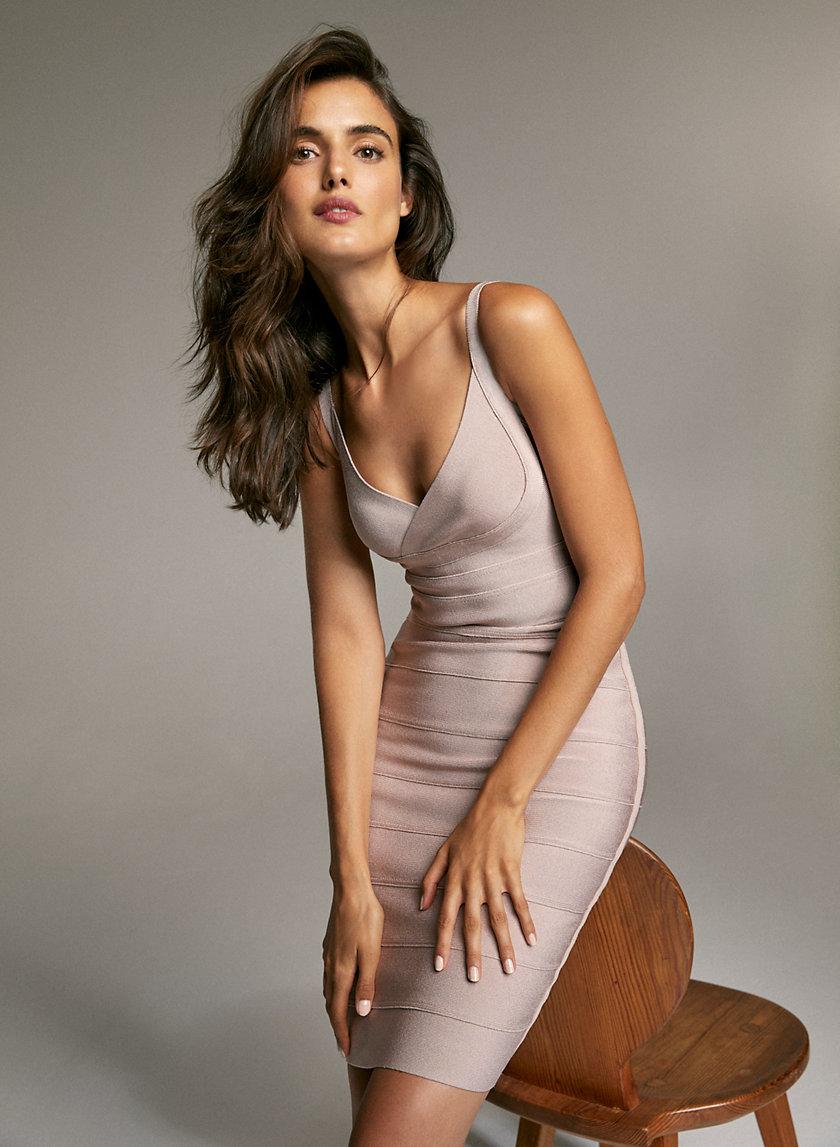 MASON BANDAGE DRESS - Shiny bodycon dress